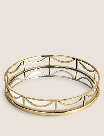 Deco Mirrored Round Tray