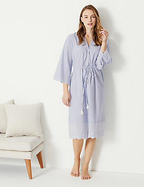 ... Pure Cotton Broderie Sleeve Wrap Dressing Gown 449420d09