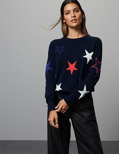 04b62b252b Pure Cashmere Star Long Sleeve Jumper