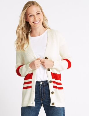 Cotton Blend Striped Longline Cardigan by Tracked Express Delivery: