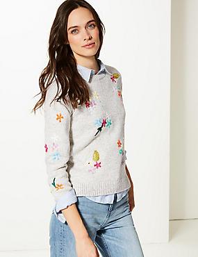 7013bb3fc83 ... Vyšívaný svetr ze směsi bavlny s nbsp kulatým výstřihem