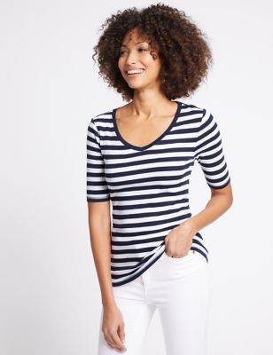 Pure Cotton Striped V Neck T Shirt by Marks & Spencer