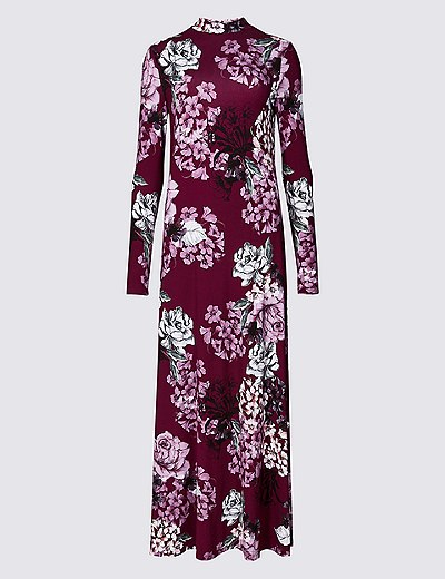 743198ce6b Floral Print Long Sleeve Maxi Dress