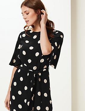 Spotted Half Sleeve Shift Dress Spotted Half Sleeve Shift Dress 68f237680