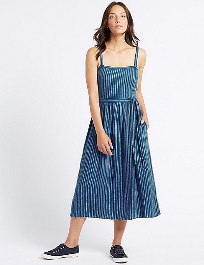 82fd5388bd Linen Blend Striped Skater Midi Dress