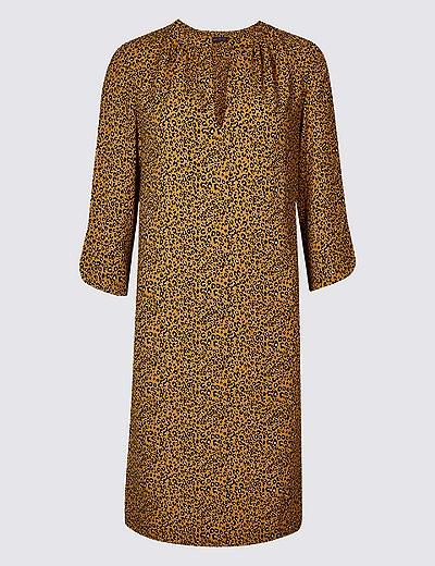 aabbe171f49 Satin Animal Print Tunic Midi Dress | Marks & Spencer London