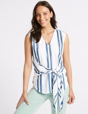 Pure Cotton Striped V Neck Blouse by Marks & Spencer