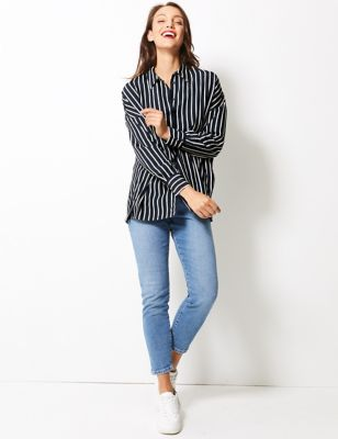 Oversized Striped Long Sleeve Shirt by Standard Tracked: