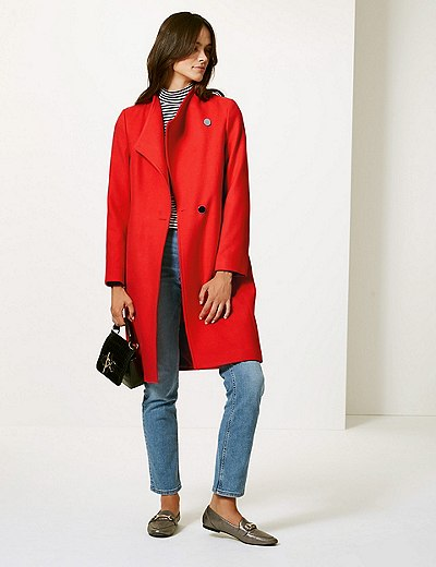 b0759ef8f5c Double Breasted Funnel Neck Coat