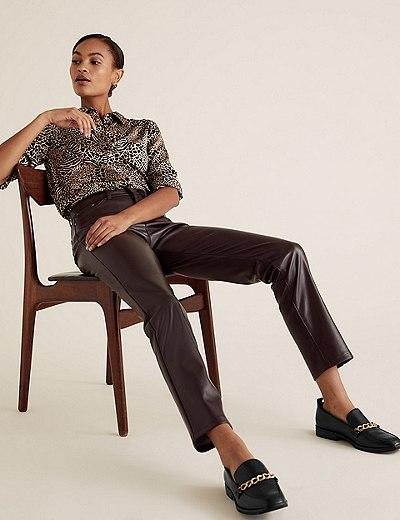 Pantalon Sienna coupe droite en similicuir