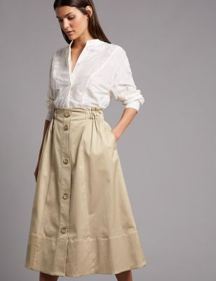 Supima Cotton Rich A Line Midi Skirt by Tracked Express Delivery:
