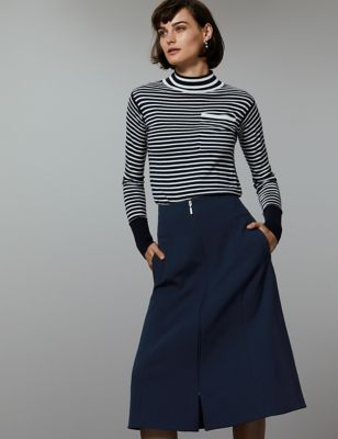 Zipped Front A Line Midi Skirt by Tracked Express Delivery: