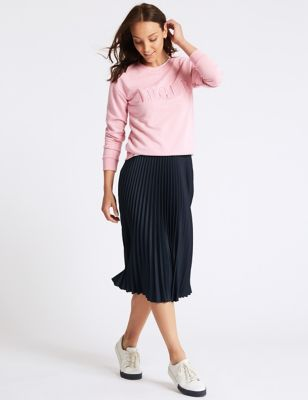 Pleated Midi Skirt by Tracked Express Delivery: