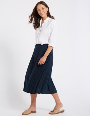 Jersey Pleated Midi Skirt by Tracked Express Delivery: