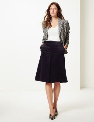 Corduroy A Line Midi Skirt by Tracked Express Delivery: