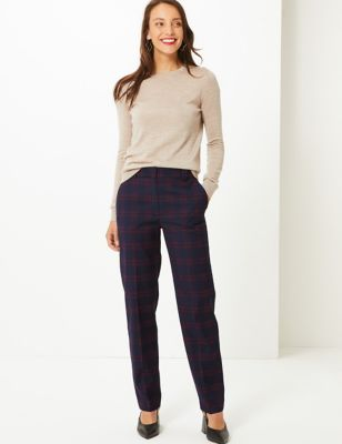 Checked Relaxed Straight Leg Crepe Trousers by Standard Tracked: