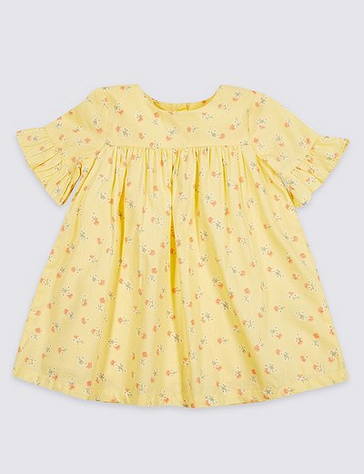 5a8e21142f7b Ditsy Floral Print Pure Cotton Baby Dress