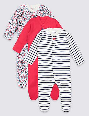 18d0bb658db11 3 Pack Organic Cotton Sleepsuits