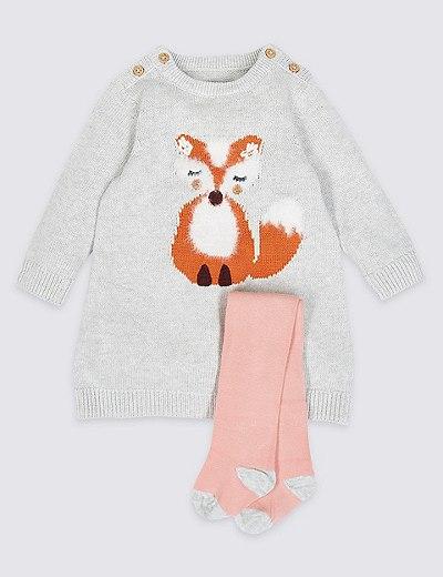 dc4a97b6637e Pletené šaty s vysokým obsahem bavlny a s motivem lišky