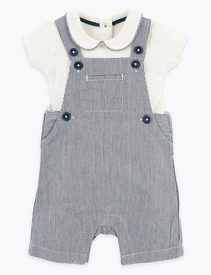 2 Piece Cotton Rich Striped Dungarees Outfit