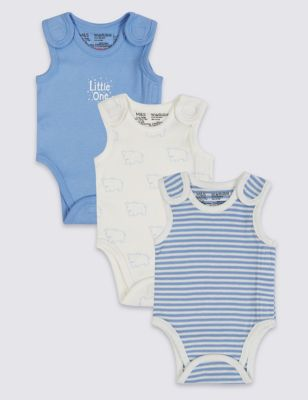 Baby Boys Pack of 3 Sleeveless Bodysuits Vests Tiny Prem Sizes from Newborn to 24 Months