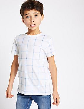 57e00ee2bea ... Tričko z nbsp čisté bavlny s nbsp mřížkovaným vzorem ...