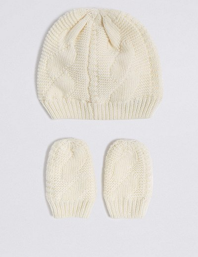 349e78c40b5 Baby Hat   Mittens Set