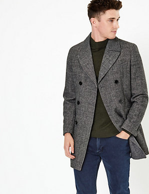 latest discount perfect quality half price Tailored Wool Double Breasted Peacoat | M&S Collection | M&S