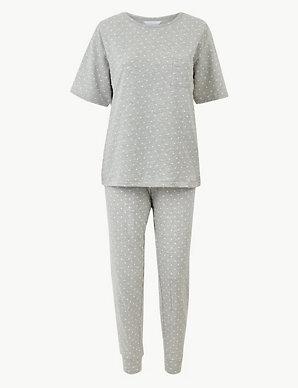 48b306d9f Textured Dot Cuffed Hem Pyjama Set