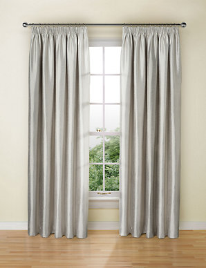 e74aebc50 Textured Faux Silk Blackout Pencil Pleat Curtains