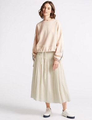 6df8d5d3c2 Textured Full Midi Skirt