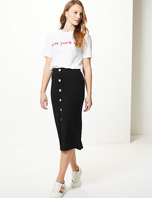 922e9d7abb Textured Jersey Pencil Midi Skirt | M&S Collection | M&S