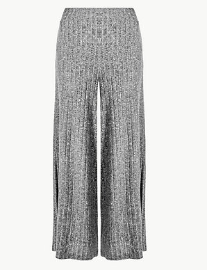 02ca982d21 Textured Jersey Wide Leg Cropped Trousers