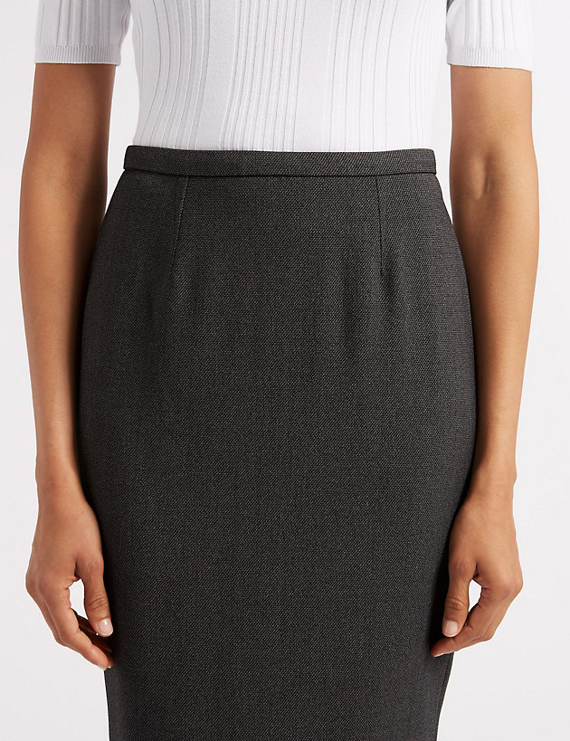 M/&S COLLECTION  Textured Pencil Skirt ~ Charcoal