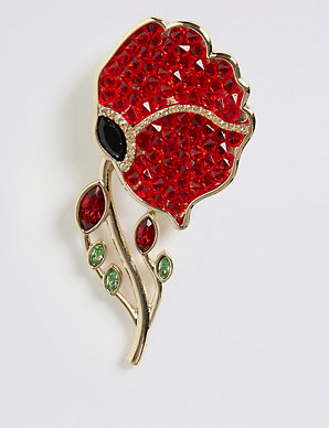 The Poppy Collection® Poppy Brooch with Swarovski® Crystals