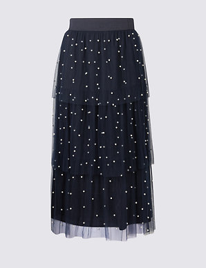6c40c98d73 Tiered Mesh Pearl A-Line Midi Skirt | M&S Collection | M&S