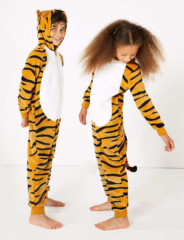 8-9 i-Smalls Girls Boys Tiger Print Fleece Hooded All in One Tiger