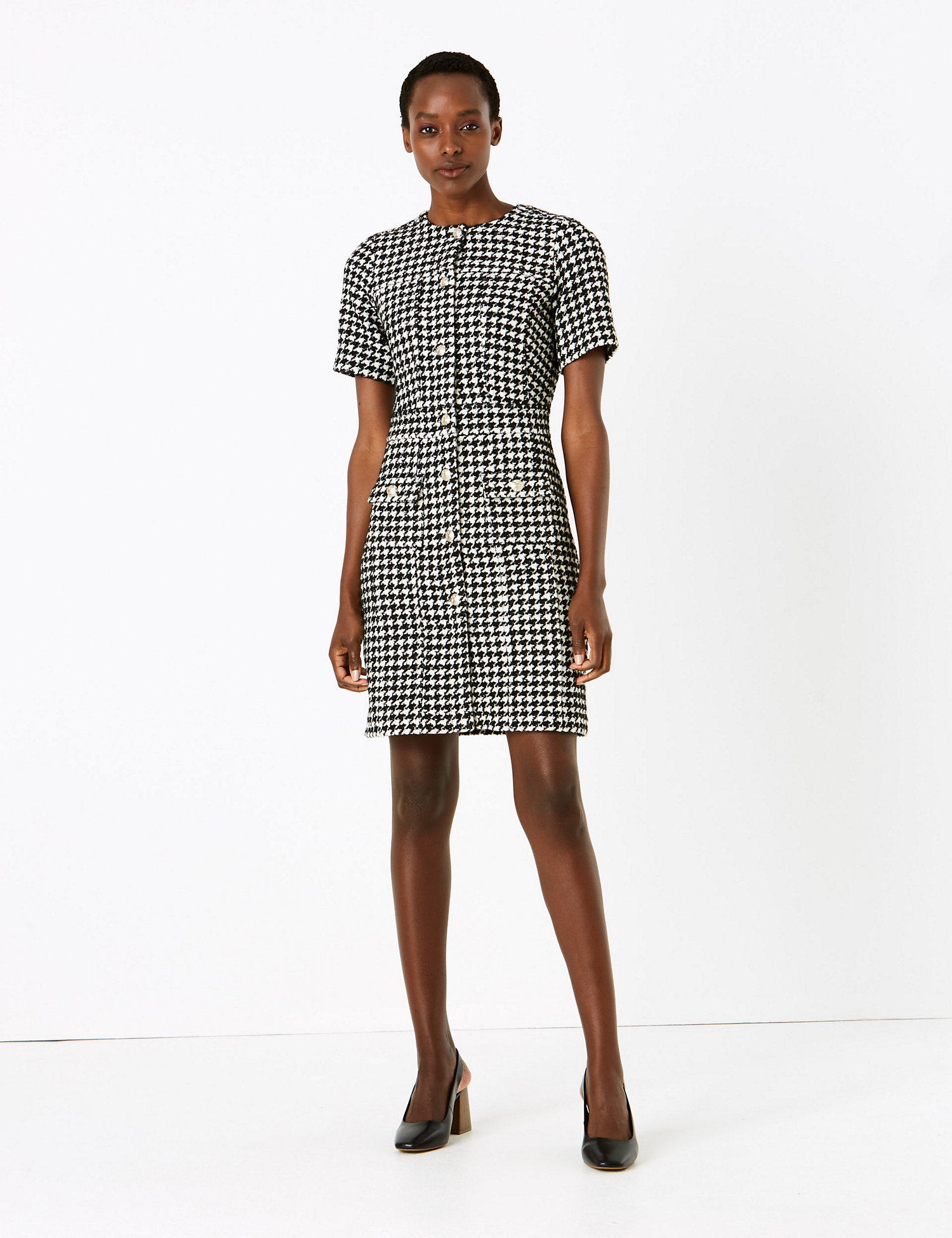 Tweed Button Front Mini Waisted Dress m&s collection