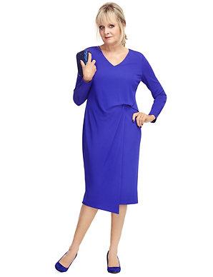 Marks /& Spencer Twiggy Purple /& White Floral V Neck Short Sleeve Lined M/&S Dress