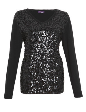 quality and quantity assured shop for original fashion styles Twiggy for M&S Collection Front Sequin Jumper