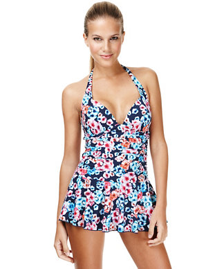 structural disablities superior performance best quality for Ultimate Halterneck Bloom Tummy Control Skirt Swimsuit   M&S