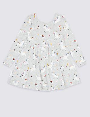 97bc9055ed07 Unicorn Print Dress (3 Months - 7 Years) | M&S