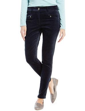 09871fdfdc622 Velvet Zip Pocket Jeggings | M&S Collection | M&S