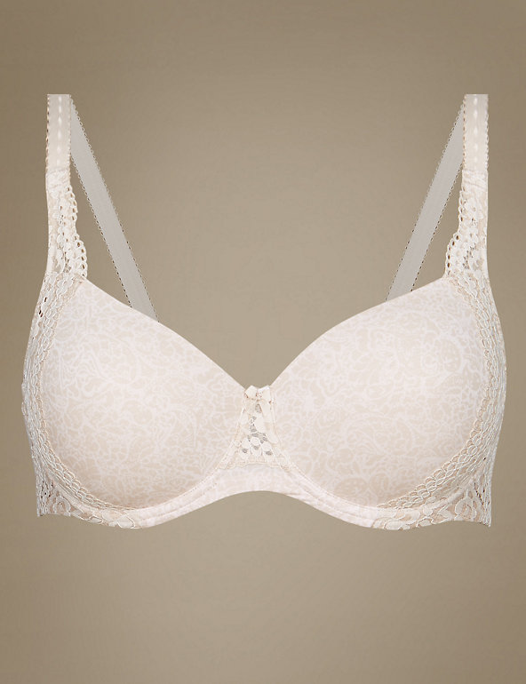 M /& S SUPERFINE COTTON FULL CUP T-SHIRT BRA  VINTAGE LACE BRIGHT PINK