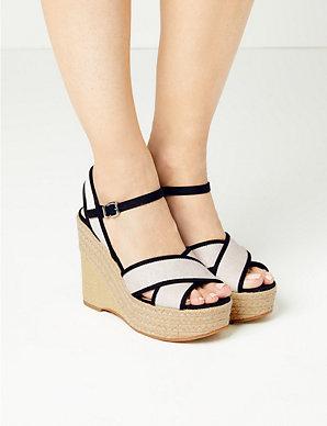 6363705705a Wedge Heel Crossover Espadrille Sandals