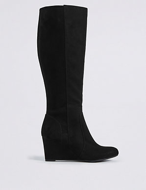 c04b3c6aa87 Wedge Heel Side Zip Knee High Boots