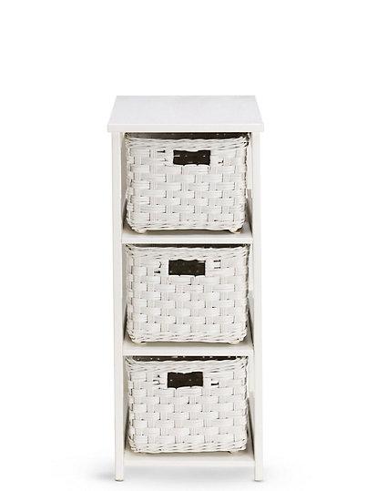 White Rattan 3 Tier Storage Unit M S, Wicker Bathroom Shelving Units
