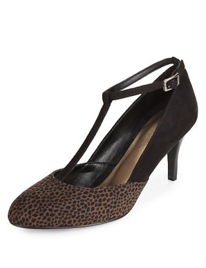 b4e4ca48e24a Wide Fit Animal Print T-Bar Court Shoes with Insolia®   M&S Collection   M&S