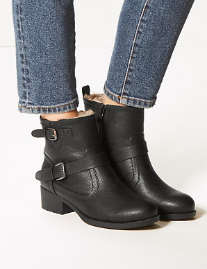 usa cheap sale Clearance sale top fashion Wide Fit Block Heel Biker Ankle Boots