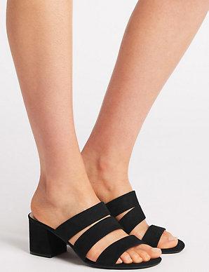 15db7753e28d Wide Fit Block Heel Multi Strap Mule Sandals | M&S Collection | M&S